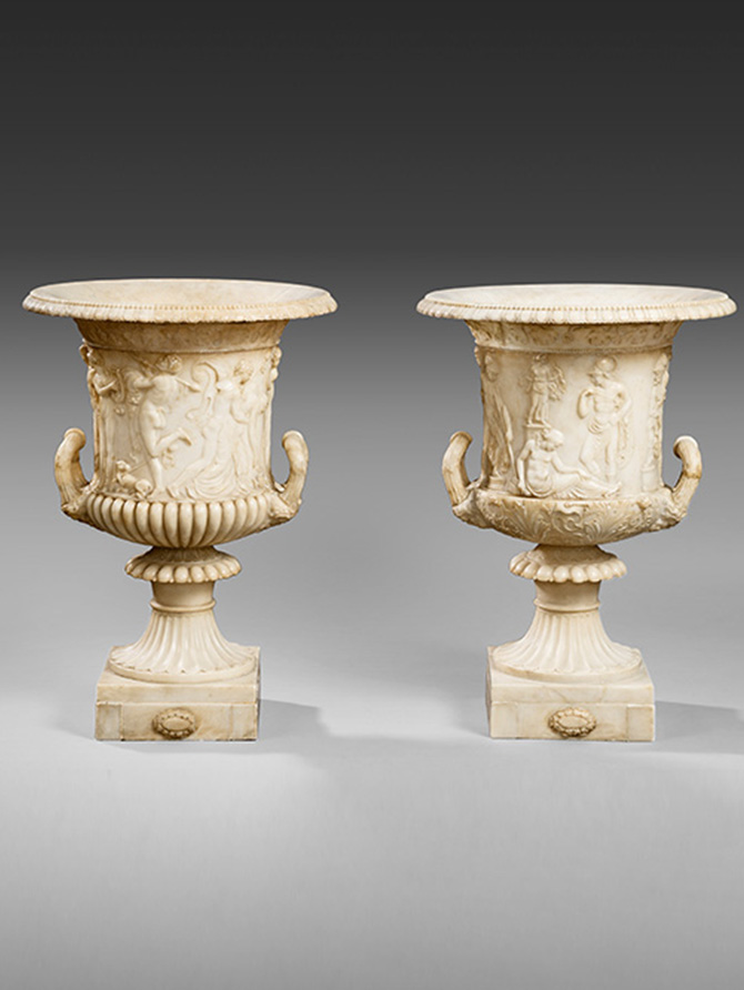 Pair Of Alabaster Urns After The Medici And Borghese Vases