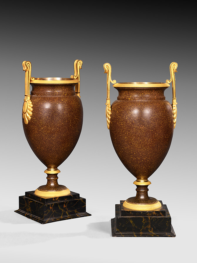 Pair Of Metal And Ormolu Vases Painted To Imitate Porphyry